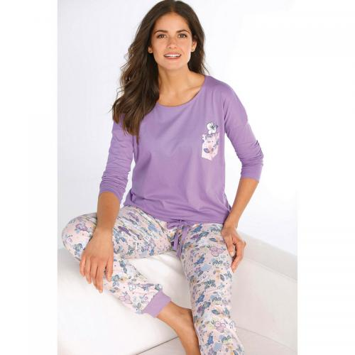 lacer dans bonne vente de chaussures plutôt cool Pyjama tee-shirt avec poche et pantalon imprimés femme - Imprimé Lilas -  Venca