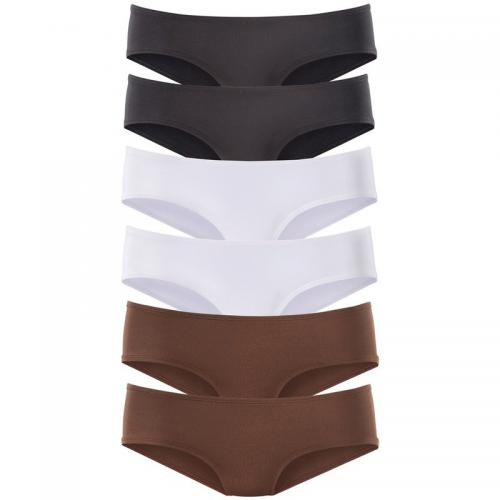 Vivance - Lot de 6 slips taille basse en microfibre coton stretch femme Vivance - Marron - Promotions Sous-vêtements femme