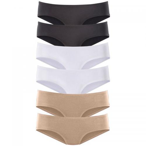 Vivance - Lot de 6 slips taille basse en microfibre coton stretch femme Vivance - Beige - Promotions Sous-vêtements femme