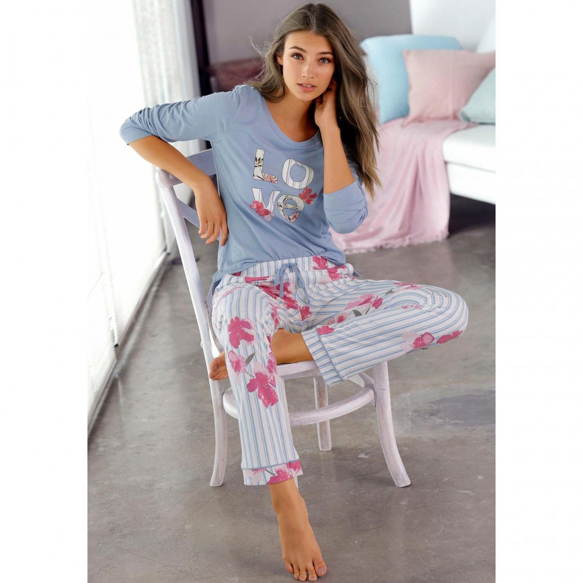 Pyjama long jersey femme Vivance Dreams bleu rayures   3
