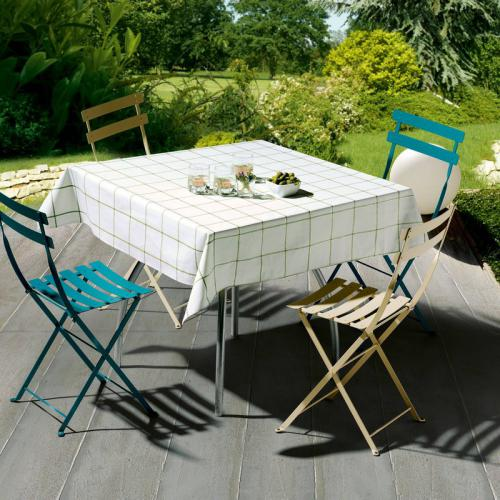 Winkler - Nappe à carreaux rectangulaire ou carrée en coton enduit Patio Winkler - Vert - Linge de table
