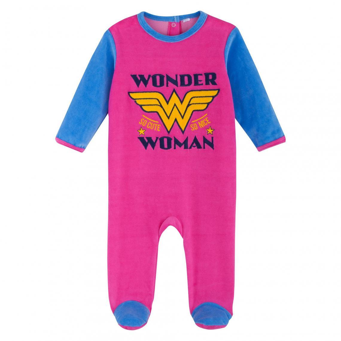 Dors-bien velours brodé bébé fille Wonder Woman - Rose Wonder Woman Enfant c7a6ab97ac2
