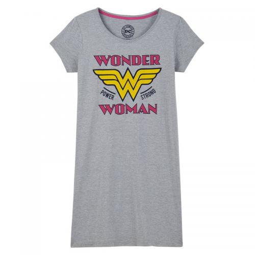 Grand tee-shirt de nuit manches courtes Wonder Woman - Gris