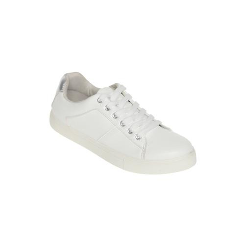 Venca - Baskets basses à lacets talon argenté femme Blanc - Baskets