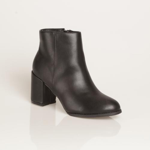 Venca - Bottines à talon carré, simili cuir Noir - Bottes / Bottines