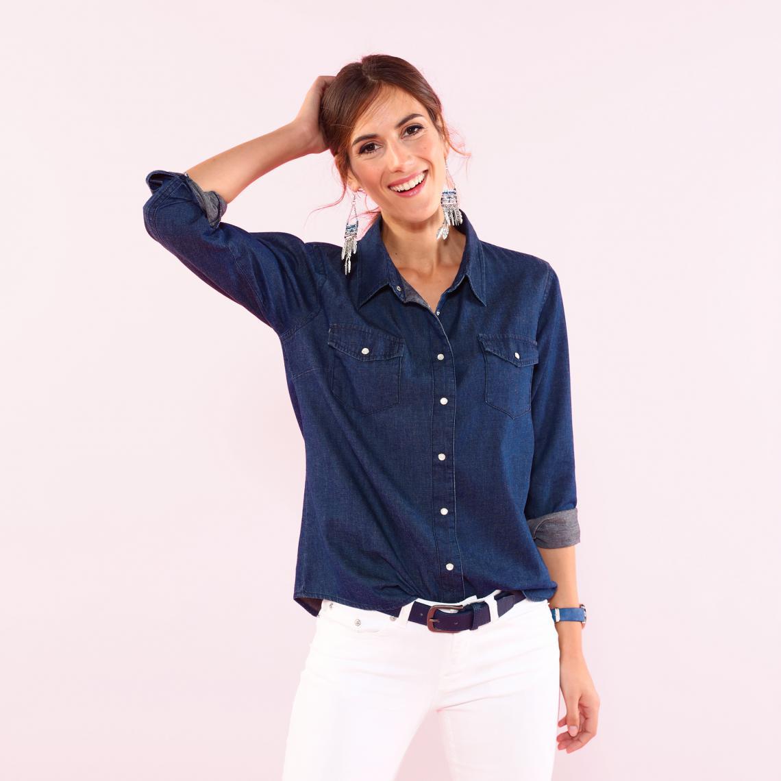 Chemise en jean à pressions manches longues femme Bleu foncé 1 Avis Plus de détails