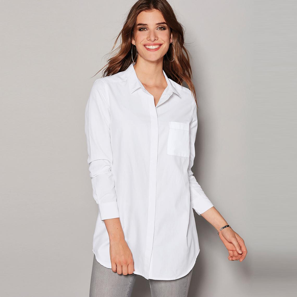 Chemise manches longues bas arrondi femme Blanc P8SVU