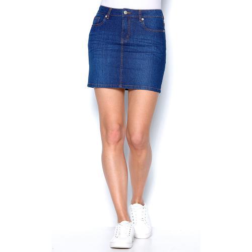 bdf55ae993de2d Jupe courte en jean coupe 5 poches femme Bleu foncé