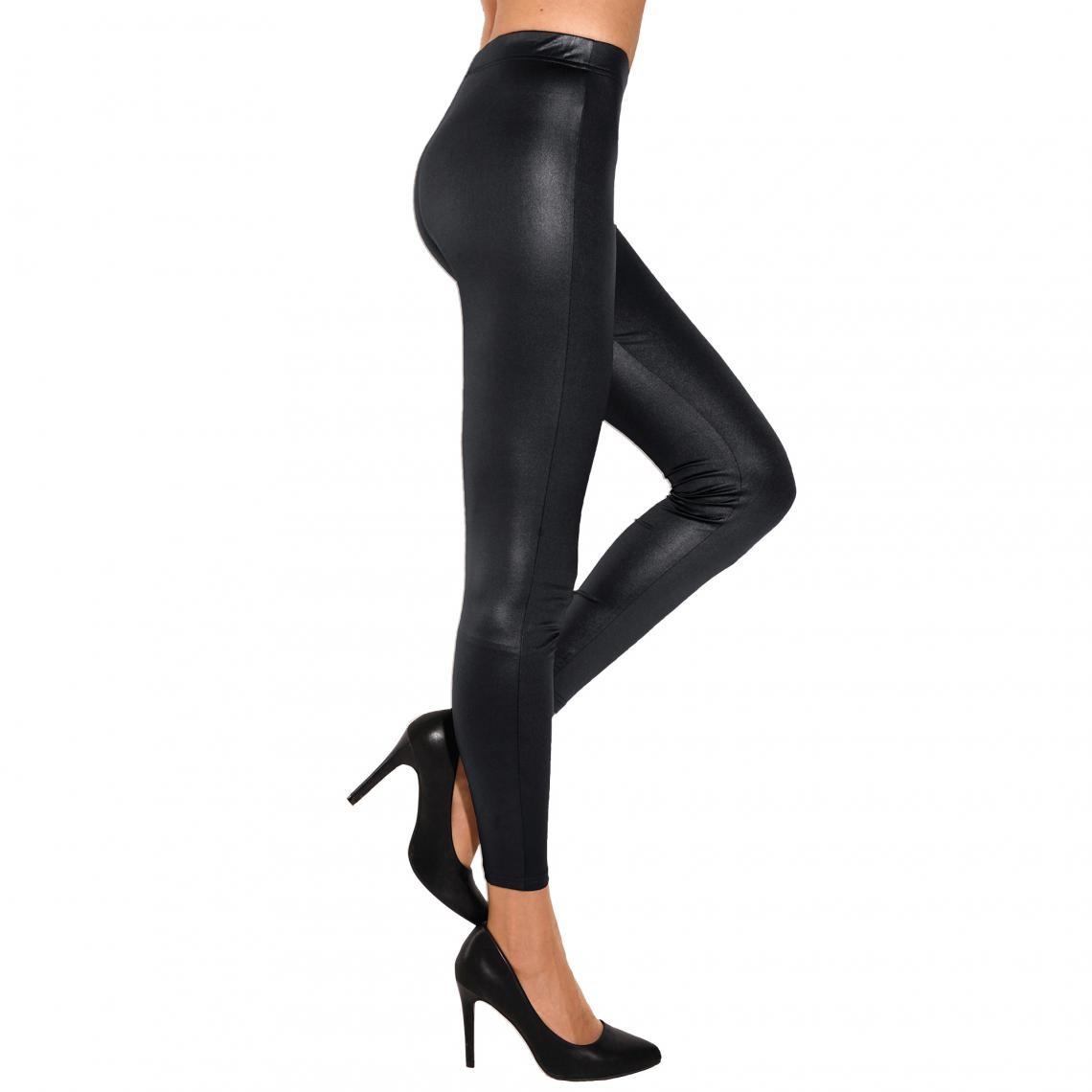 Legging élastique brillant femme Noir Plus de détails