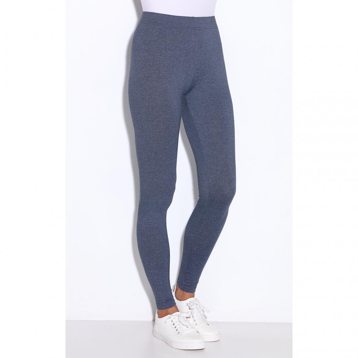 Legging uni sans coutures taille élastique femme Bleu Plus de détails