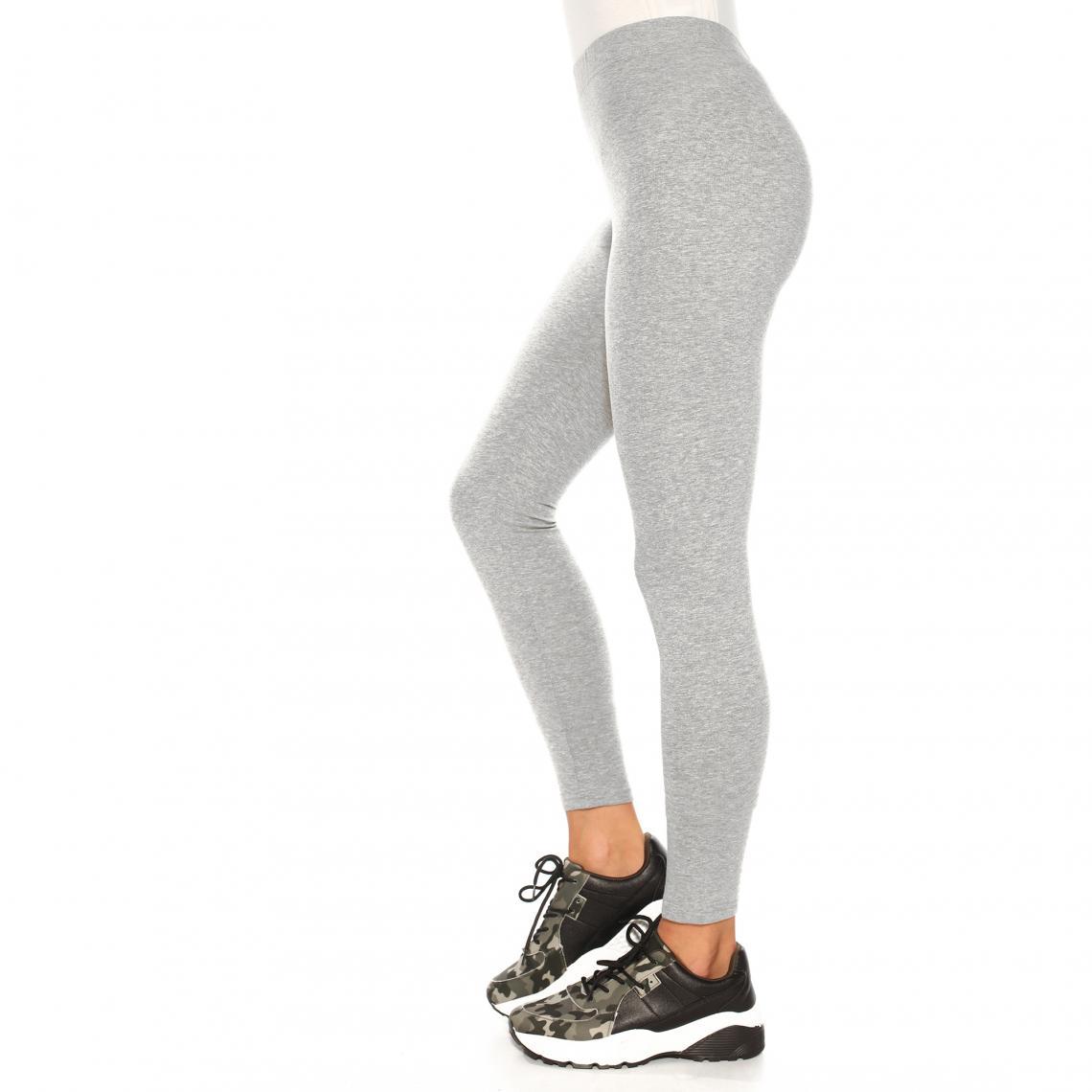 Legging uni sans coutures taille élastique femme Gris Plus de détails