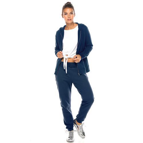 2e7824126d5b30 Pantalon taille et bas élastiqués et cordon femme Bleu marine