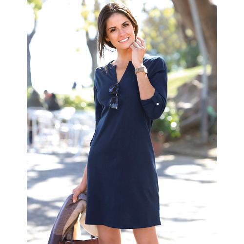 Robe courte fendue manches longues col V femme Bleu Venca