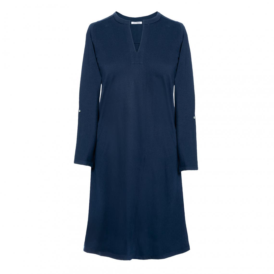 Col Manches Femme Longues Courte V Bleu3 Robe Suisses Fendue xWdoEQBrCe