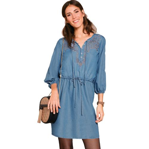 Venca - Robe en denim light avec détail guipure - Robe