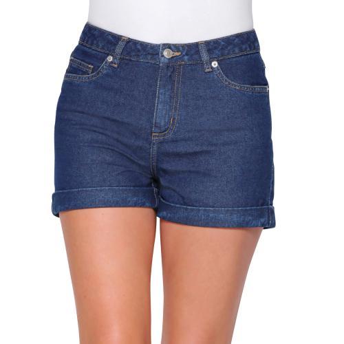 grossiste bc1ea c1929 Short en jean coupe 5 poches bas à revers femme Bleu foncé - Venca