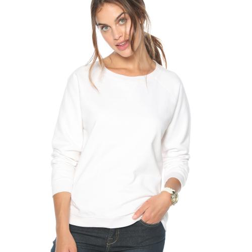 Venca - Sweat manches longues finitions bords-côtes femme Blanc - Sweat femme