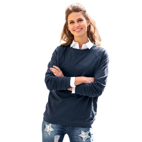 Venca - Sweat manches longues finitions bords-côtes femme Bleu marine - Sweat femme
