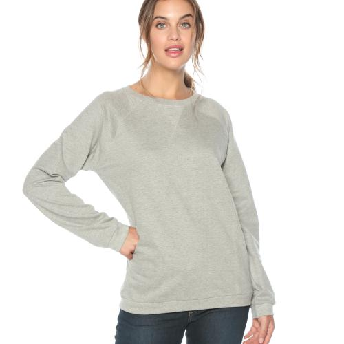Venca - Sweat manches longues finitions bords-côtes femme Gris - Sweat femme