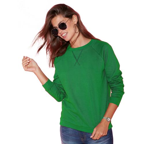 Venca - Sweat manches longues finitions bords-côtes femme Vert - Sweat femme