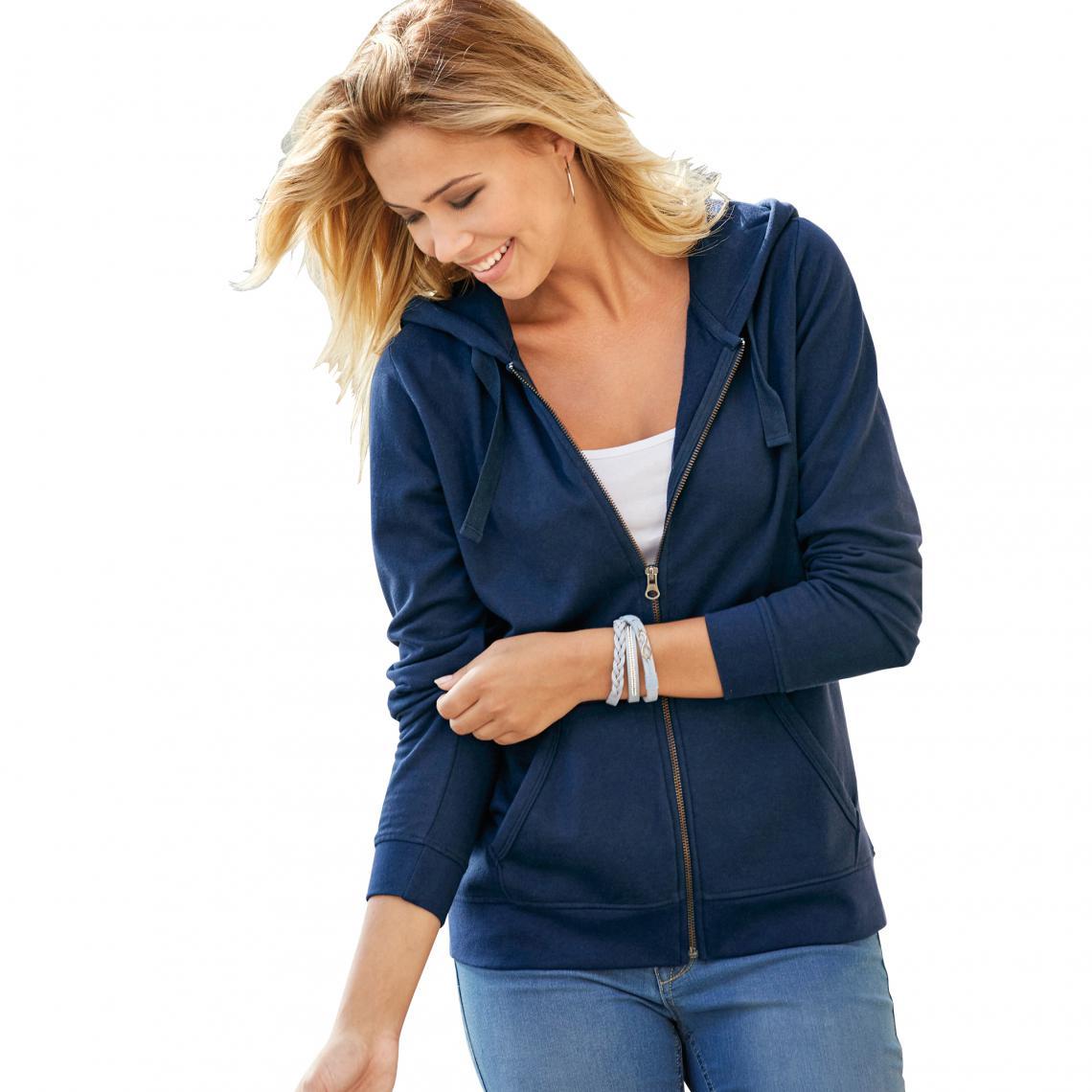 pull femme à capuche zippé