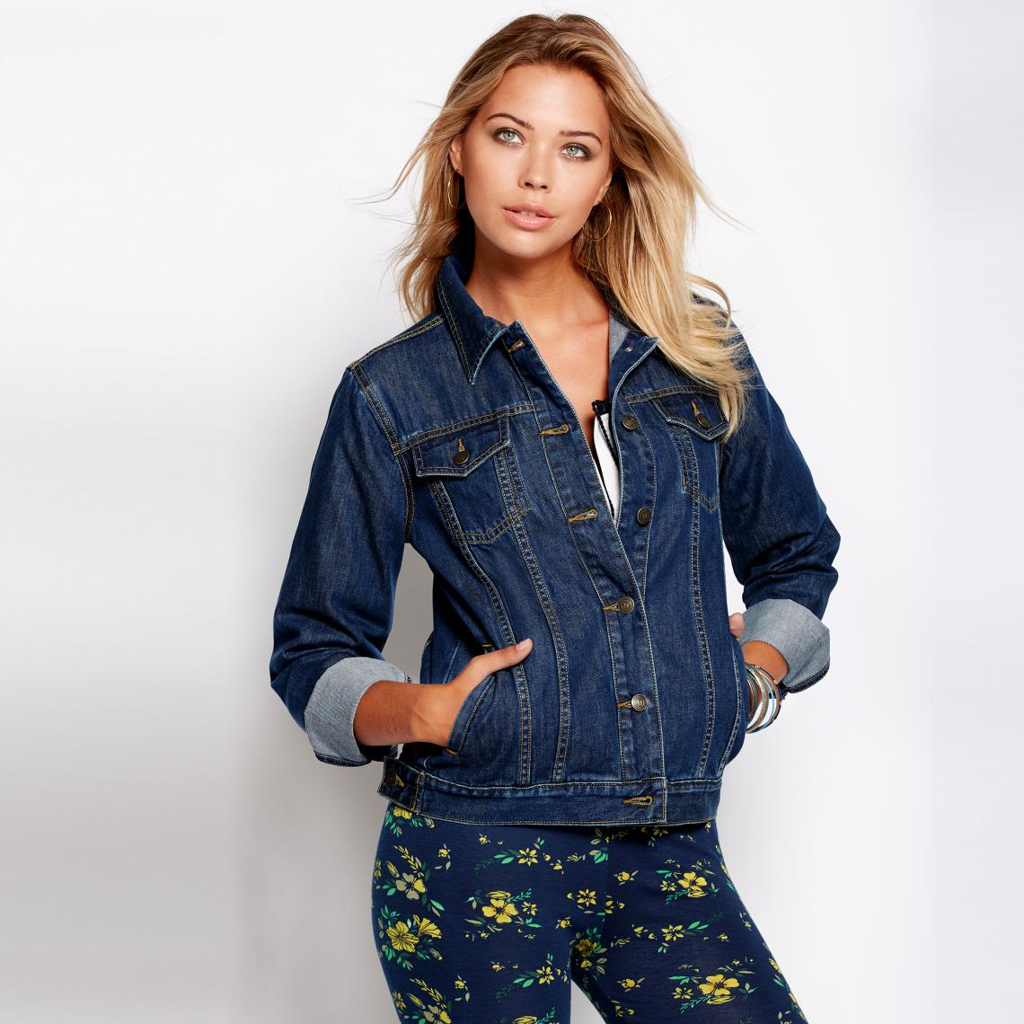 Veste en jean cintrée manches longues femme Bleu | 3 SUISSES