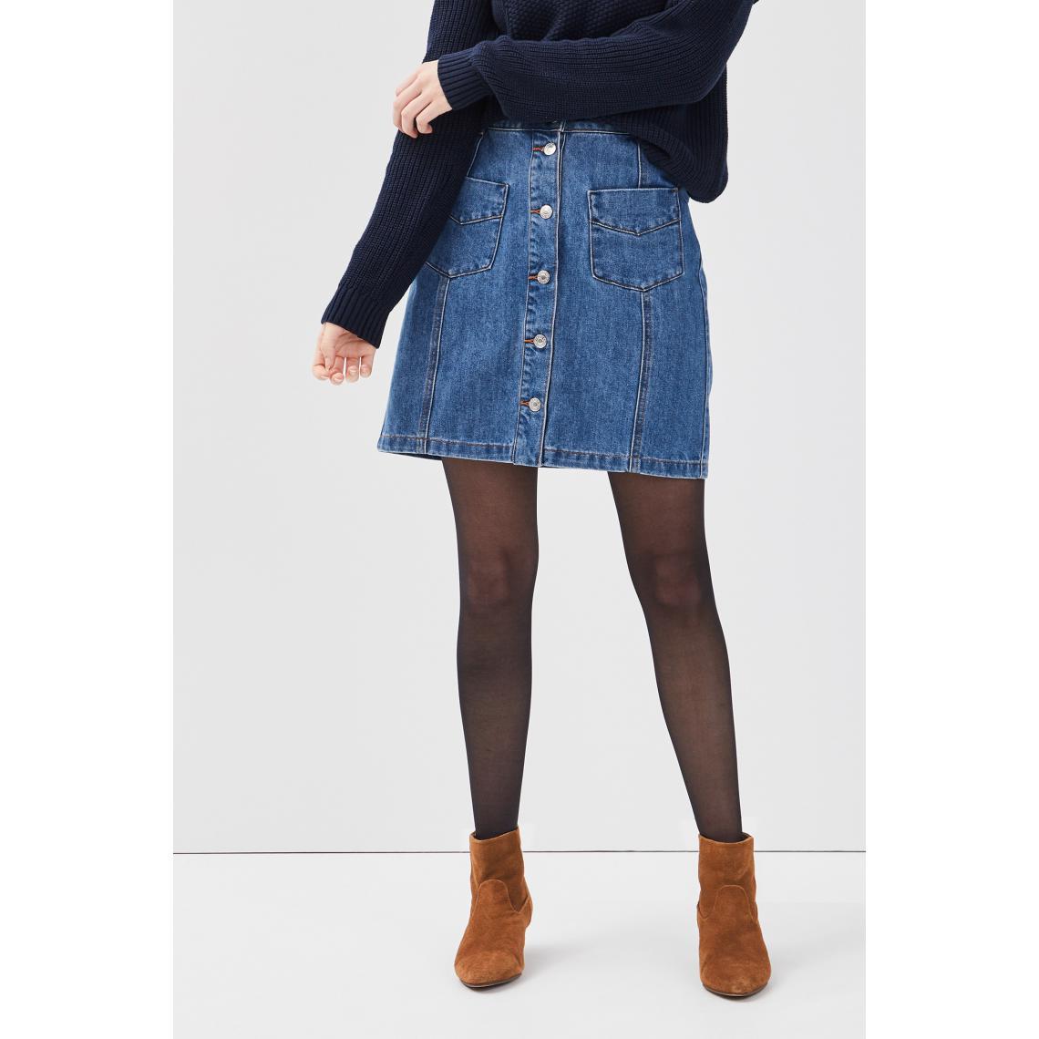 Jupe droite boutonnée en jean Plus de détails