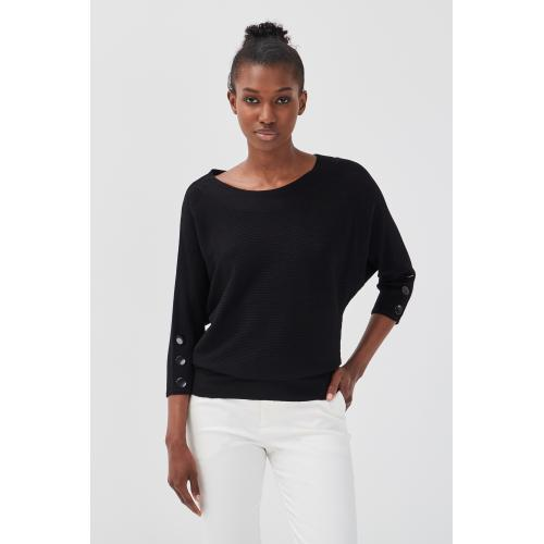 Cache cache - Pull manches 3/4 boutons - C 6254397 pulls col rond femme.htm