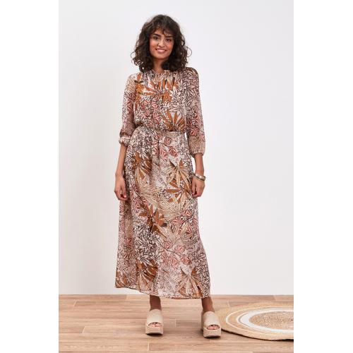 Robe longue à bretelles avec galons de dentelle et détails fluo femme Blanc 9 Avis