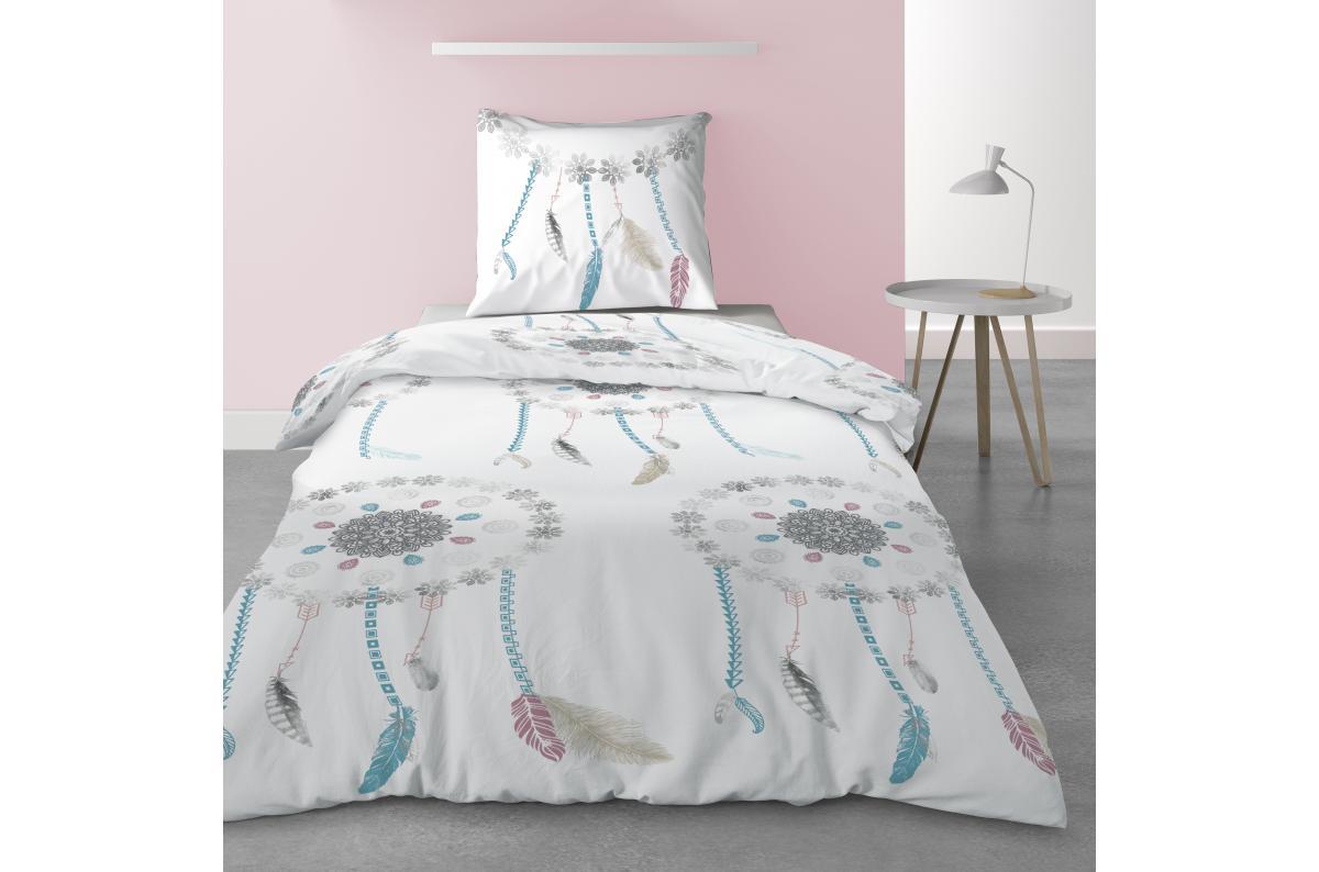 Parure de lit 1 personne avec housse de couette et 1 taie d'oreiller Dreamy Imprimé sxkna