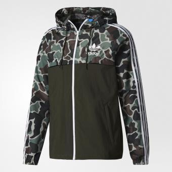 1114301f4 Veste manches longues zippée à capuche imprimée militaire Adidas homme -  Kaki