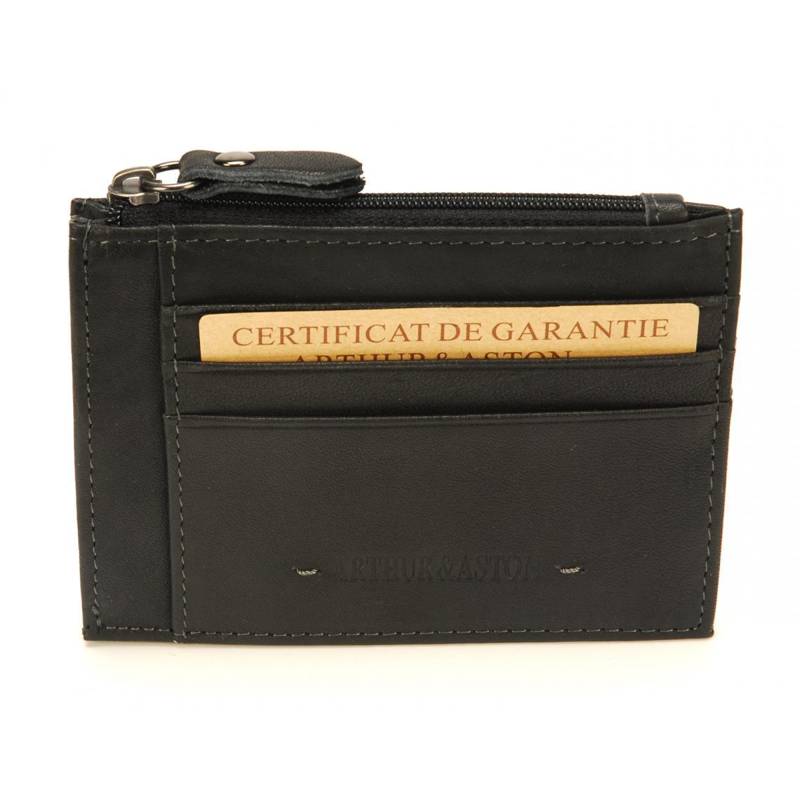 Porte-monnaie et carte cuir noir - 3 suisses - Modalova