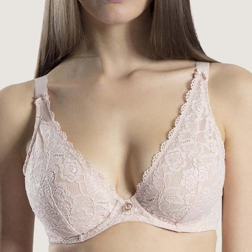 Aubade - Soutien-gorge triangle plongeant beige - Push-up