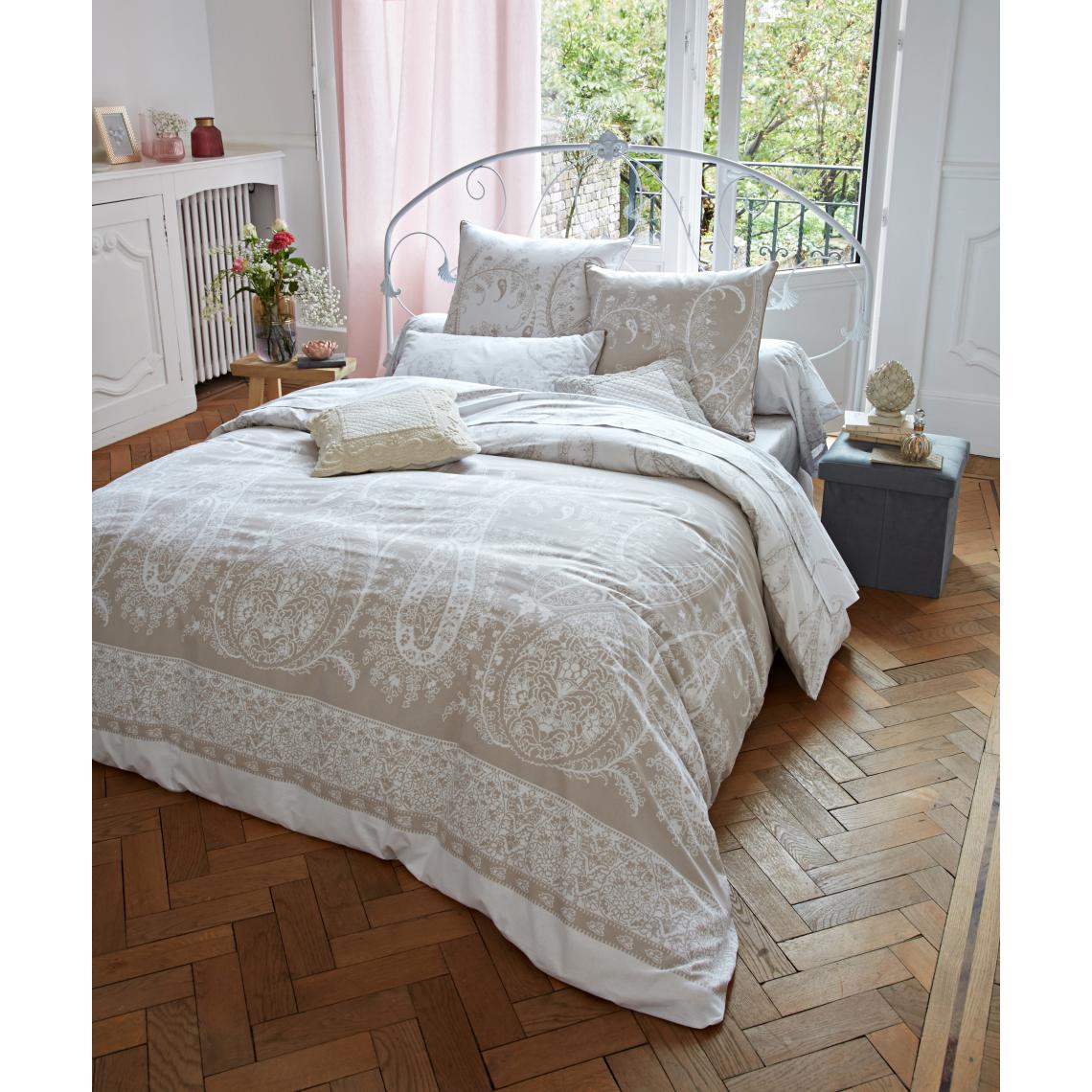 Taie d'oreiller ou de traversin coton ARABESQUES beige | 3