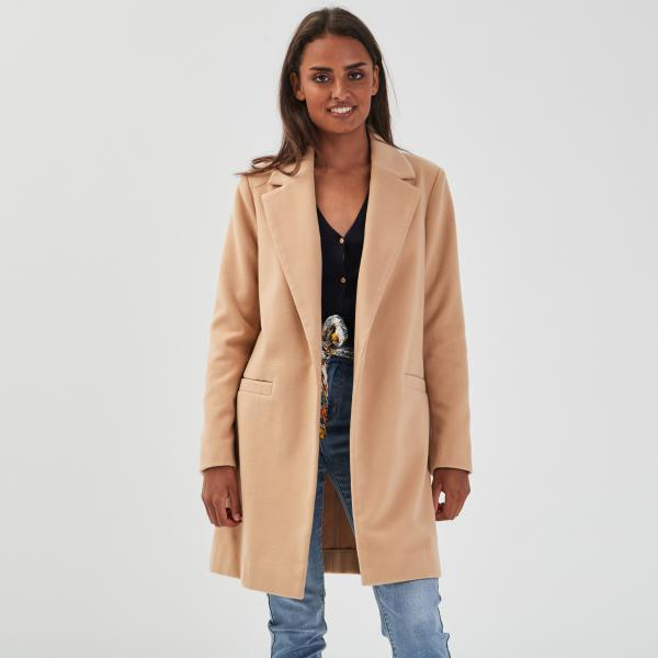 Manteau droit boutonné beige femme | Cache Cache