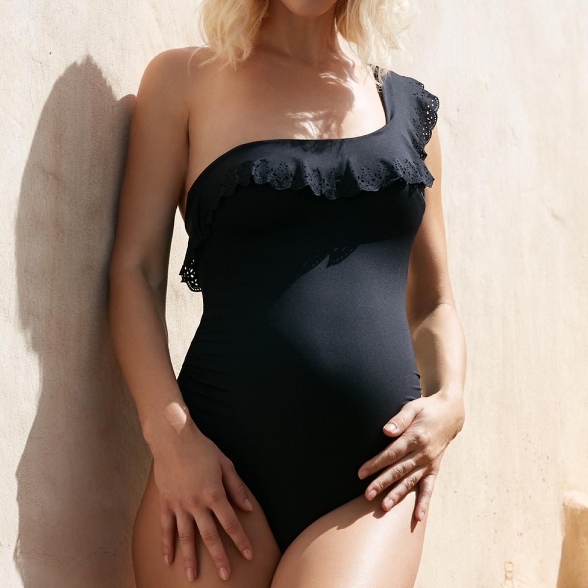 Maillot de bain de grossesse une piece - noir - Cache Coeur Maillot - Modalova