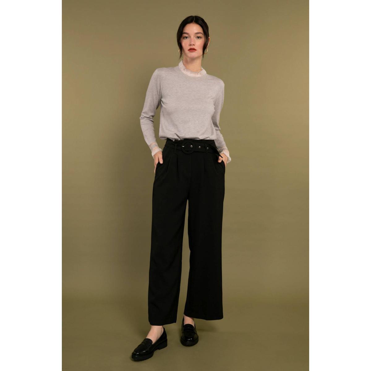 Promo : Pantalon large à plis avec ceinture - Cherry Paris - Modalova