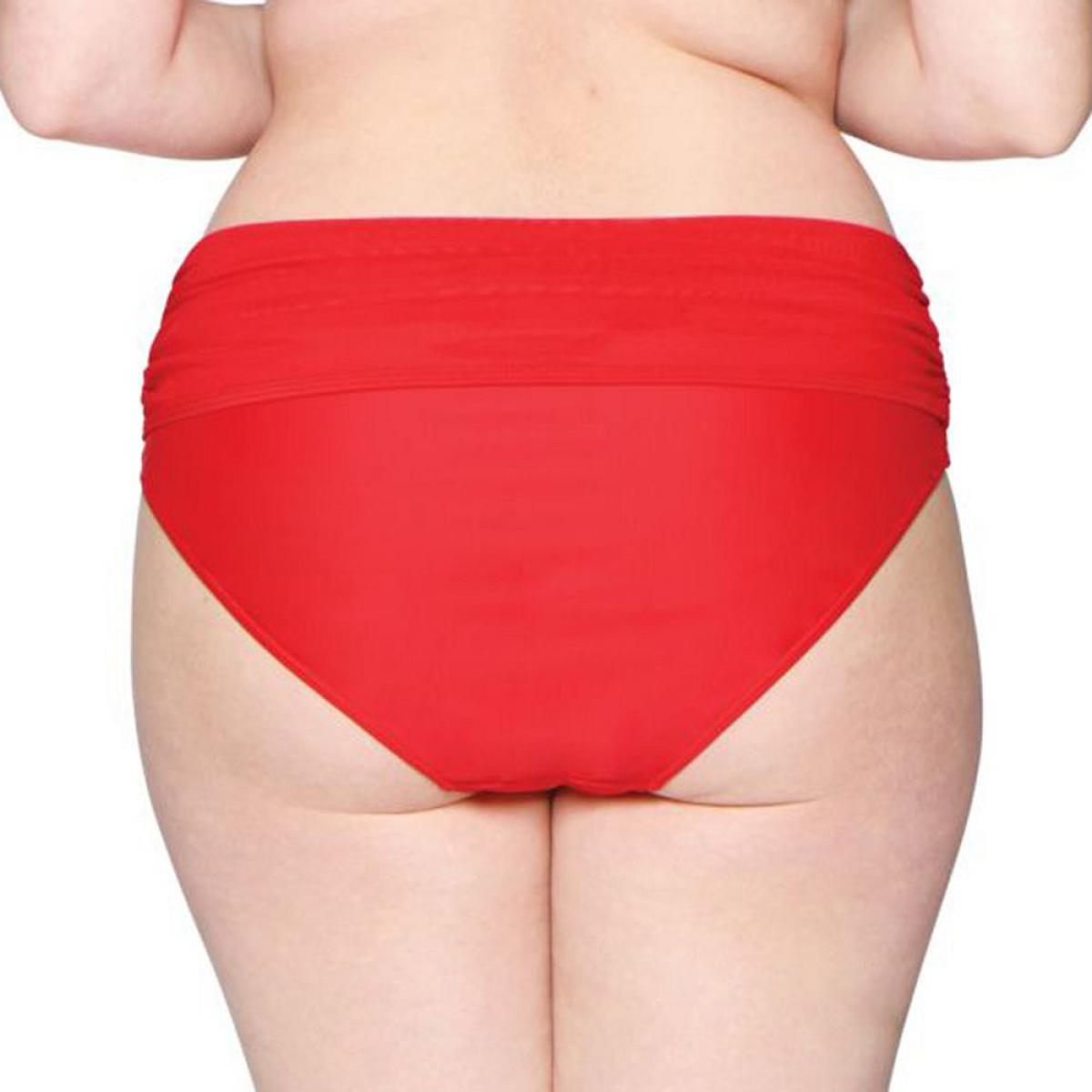 Culotte de bain à revers rouge Plus de détails