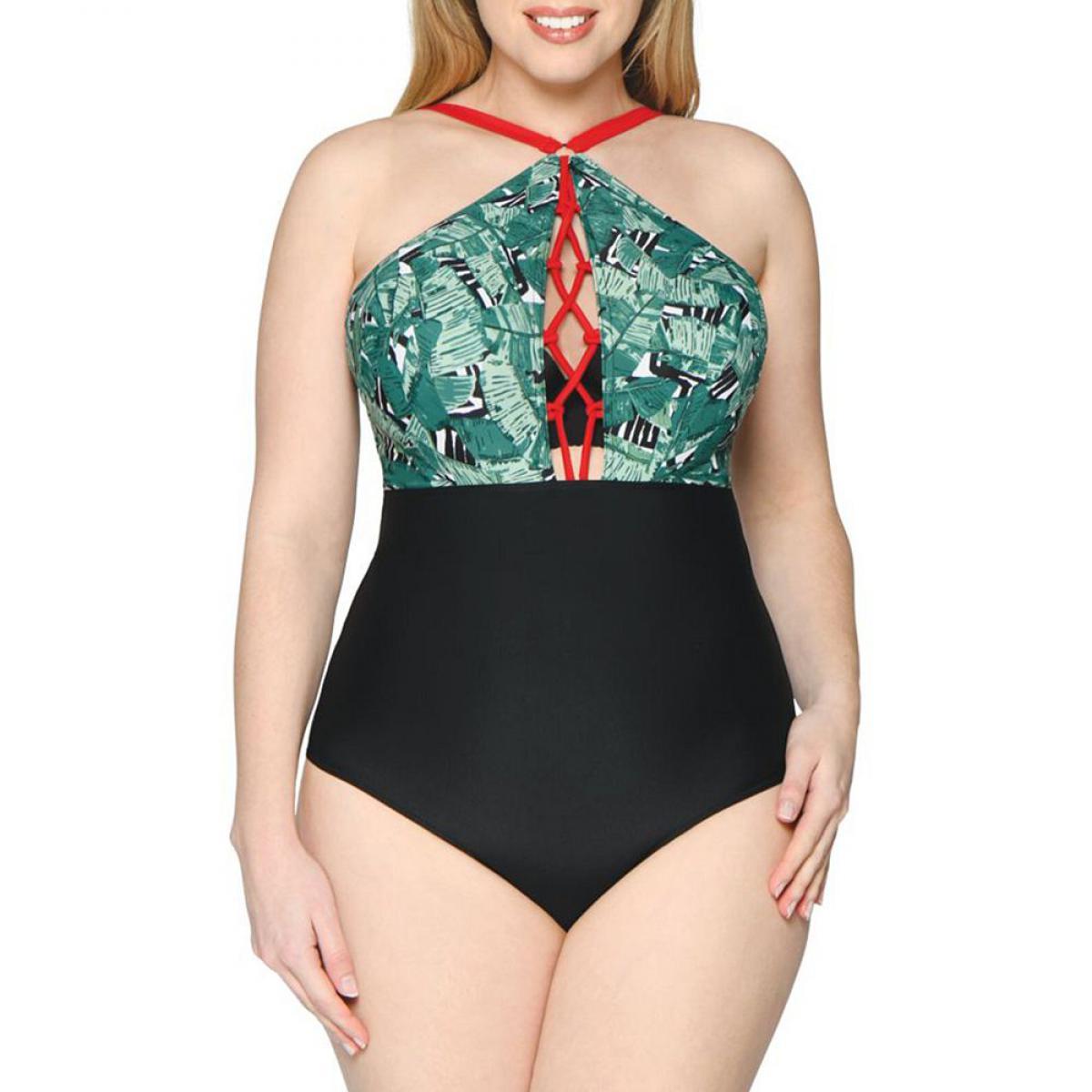 Promo : Maillot de bain une pièce plongeant armatures vert - Curvy Kate Maillot - Modalova