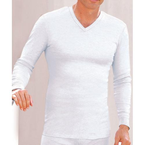 Damart - Tee-shirt col V, maille interlock - Damart