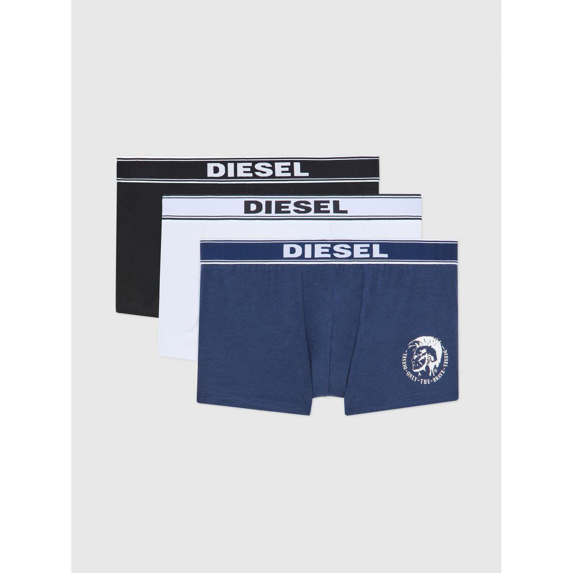 Pack de 3 boxers logotes ceinture elastique - / Blanc / Noir - Diesel Underwear - Modalova