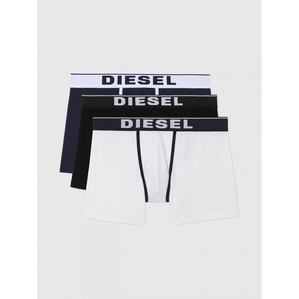 Pack de 3 boxers logotes ceinture elastique - / Noir / Blanc - Diesel Underwear - Modalova