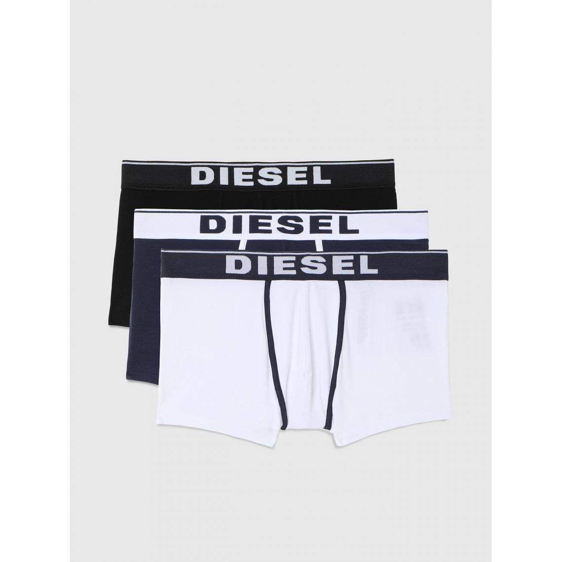 Pack de 3 boxers logotes ceinture elastique - Noir / / Blanc - Diesel Underwear - Modalova