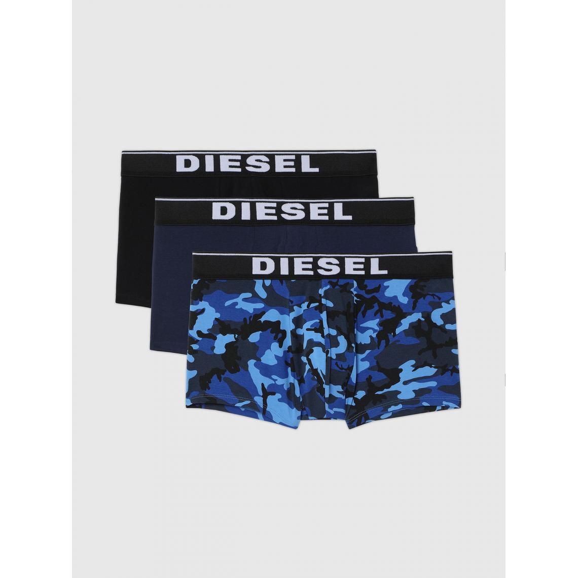 Pack de 3 boxers logotes ceinture elastique - Noir / / imprime - Diesel Underwear - Modalova