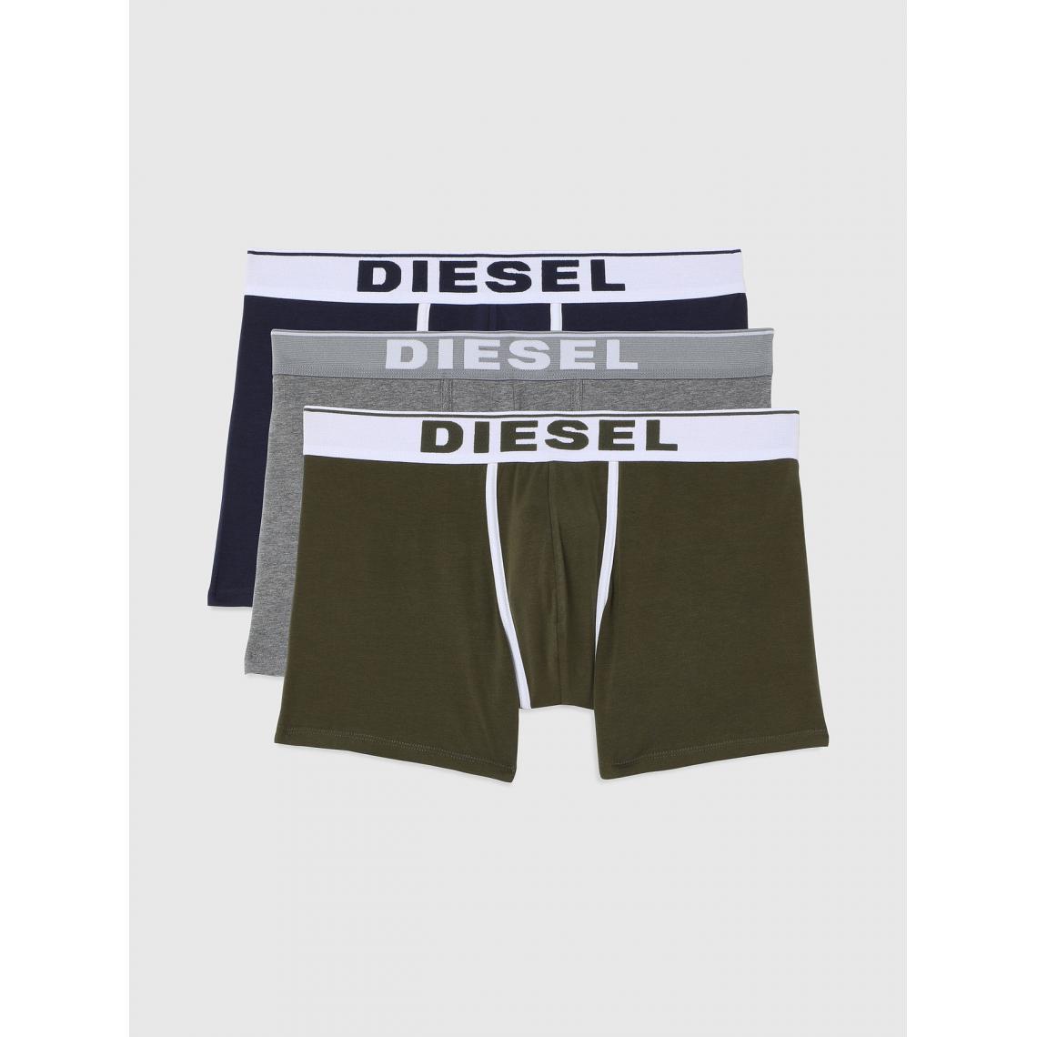 Pack de 3 boxers logotes ceinture elastique - / Gris / Kaki - Diesel Underwear - Modalova
