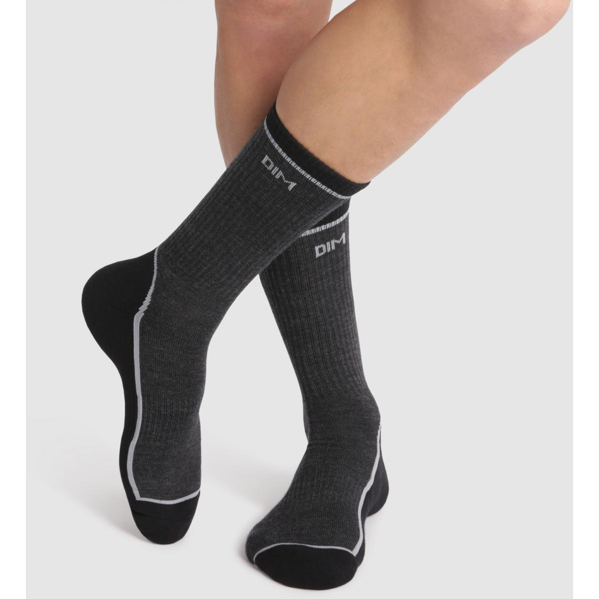 Chaussettes hautes outdoor - Gris - Dim Underwear - Modalova