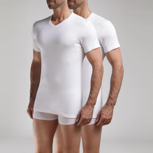 Dim Underwear - Lot de 2 t-shirts col V manches courtes - t shirts blancs homme