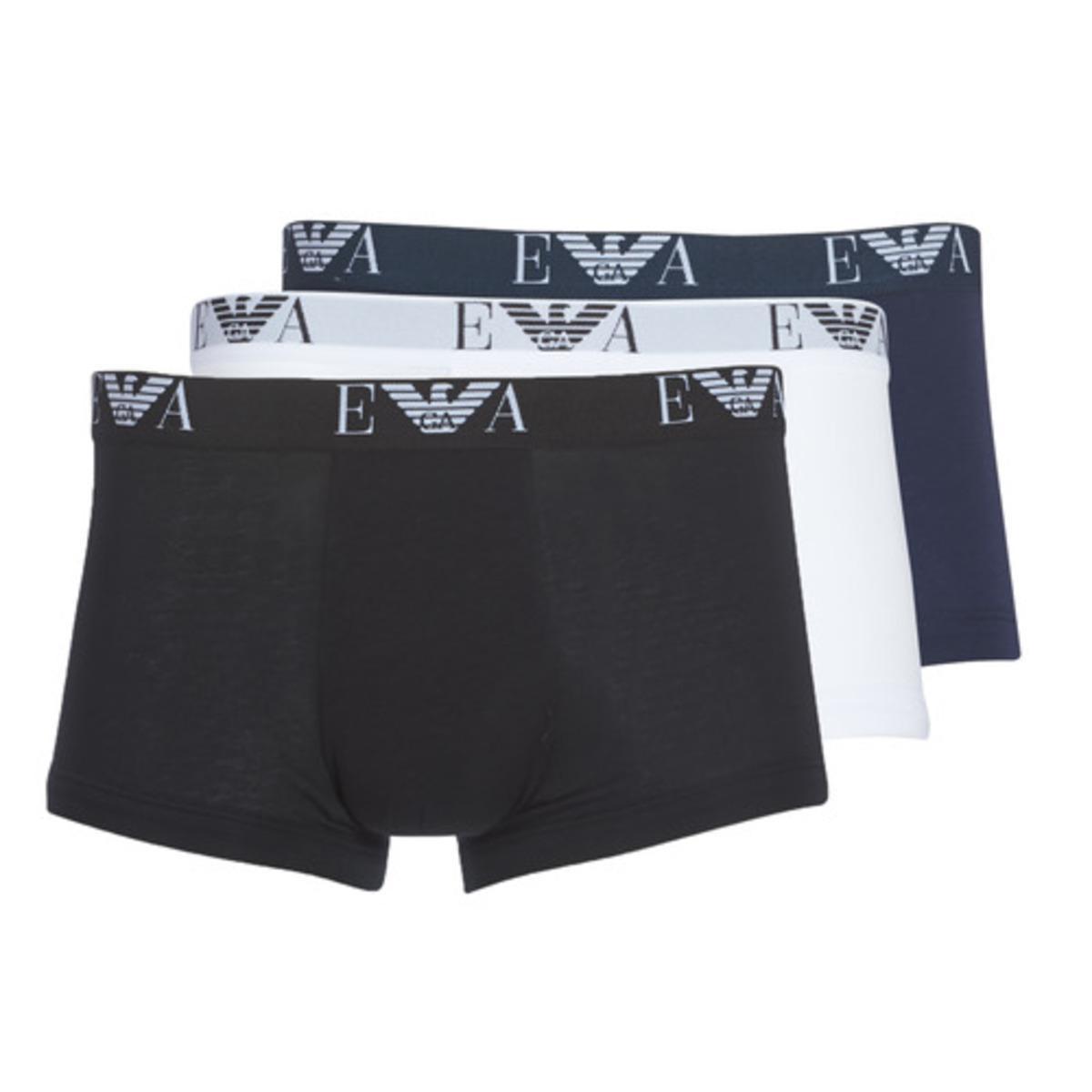Lot de 3 boxers en coton stretch Emporio Armani - Blanc / Noir / Bleu - Emporio Armani Underwear - Modalova