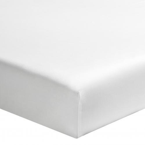 Drap-housse uni 1 ou 2 personnes percale de coton ESSIX - Blanc