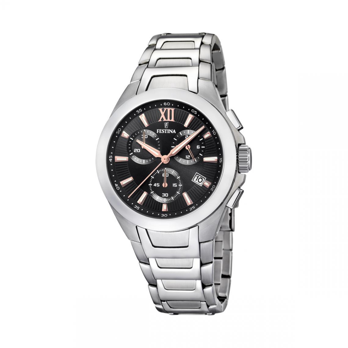 Promo : Montre Timeless Chronographe F16678-C - Montre Chronographe Dateur Acier Montres - Festina - Modalova
